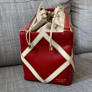 Kate Spade Red Leather Dream Cube Bucket Box Bag